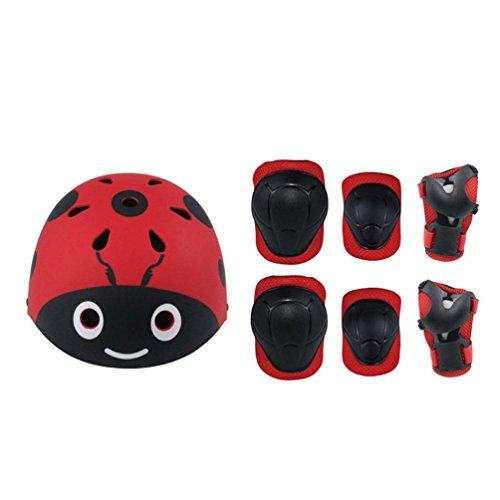 Wind Goal 7Pcs Kids Youth Adjustable Sports Protective Gear Set Helmet/Knee/Elbow/Wrist Pads for Cycling Skateboarding Skating Rollerblading and Other Sports Activities