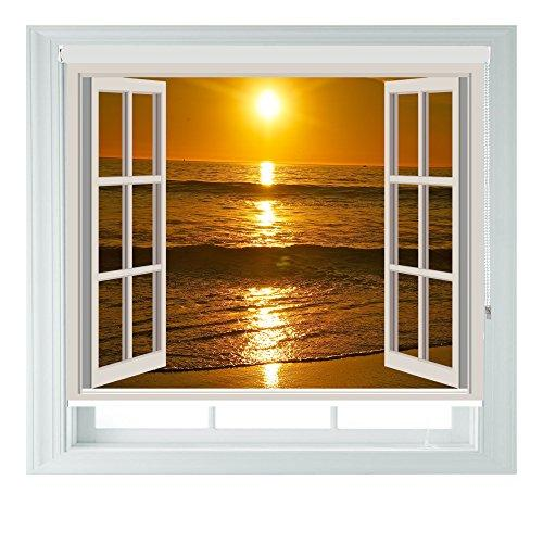 Window Sunset Various Sizes Black Out Roller Blinds for Bedrooms Bathrooms Kitchens and Caravans AOA® (window sunset 4ft)