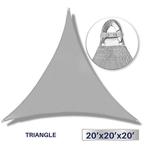 Windscreen4less A-Ring Reinforcement Large Sun Shade Sail 20' x 20' x 20' Rectangle Super Heavy Duty Strengthen Durable(260GSM)-Galvanized Cable Enhanced - Light Grey/7 Year Warranty