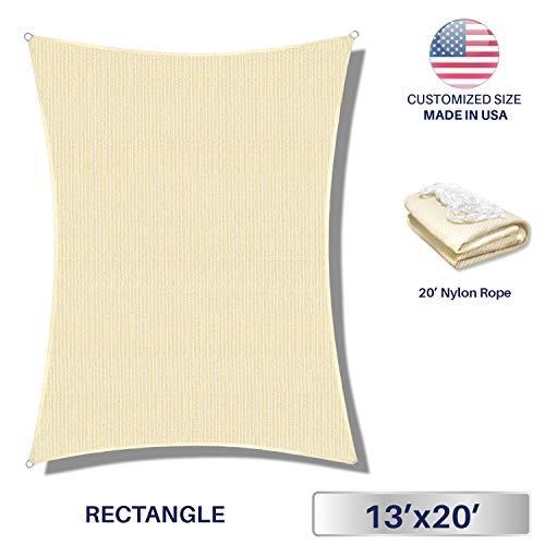 Windscreen4less Sun Shade Sail for Outdoor Patio Backyard UV Block Awning with Steel D-rings 13ft x 20ft Beige Sand Rectangle - Custom Size