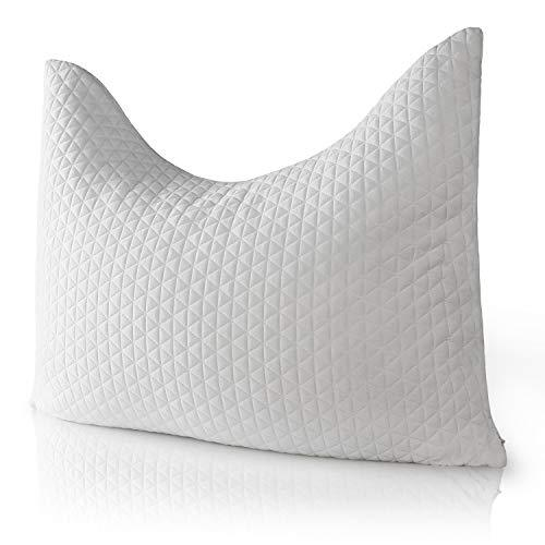 Windsleeping Natural Latex Contour Pillow - Comfort Orthopedic Cervical Pillow for Neck Support Pain Relief with Washable Breathable Cover - Standard Size