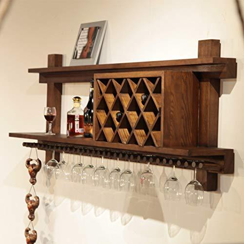 Wine Cup Rack Wine rack wall hanging wine cellar hanging wine glass rack restaurant wine cabinet (walnut color) Hanging Stemware Holder (Size : 160 * 23 * 64cm)