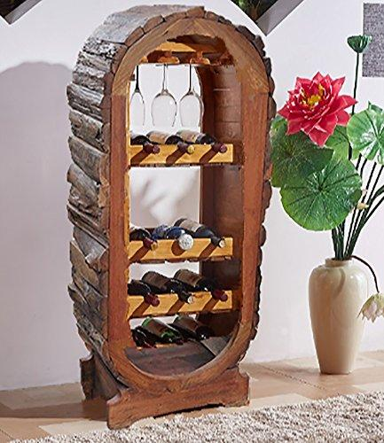Wine racks - American Village Retro Floor Style Solid Wood Wine Cup Holder Clubhouse Decoration Felice Home