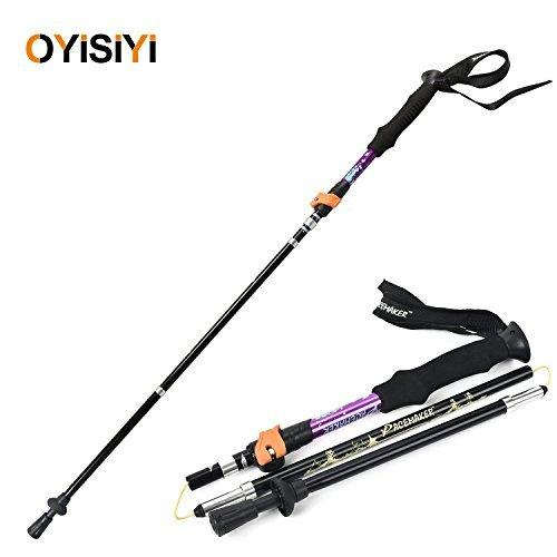 Winhi Ultralight Trekking Pole, Folding Alpenstock, Hiking Pole, Telescopic Aluminum Alloy Walking Stick, Anti Shock,5 Section with Adjustable EVA Foam Handle For Climbing Traveling (Purple)