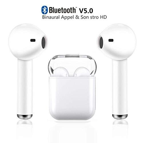 Wireless Bluetooth Headset, V5.0 Bluetooth in ear Headphones, Double Ear Canal Call Technology, with Microphone and Charging Box,Earphones Compatible with IOS and Android Smartphones and Tablets