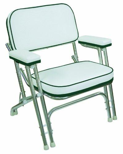 Wise Folding Deck Chair with Aluminum Frame, White/Green