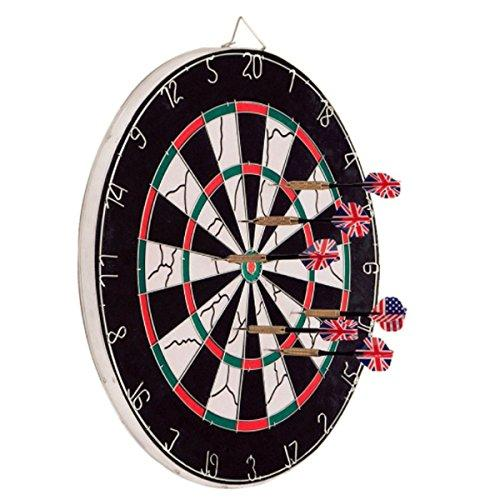WKMR Dartboard, Double-sided Steel Dart Board with 6 Brass Darts Dart Board Set, Professional Home Dartboard Kit Game Flocking Dart Board Bristle