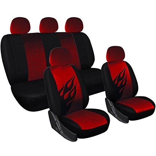 WOLTU 7223 Universal Type Car Seat Covers/Car Seat Cover Set/Car Seat Protection with Flame Pattern(Black/Red)