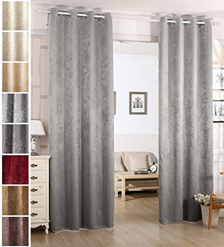 "WOLTU Pair of Eyelet Blackout Curtains Thermal Insulated Ring Top Damask Curtain Panels for Bedroom Living Room Nursery with Two Tiebacks, Silver Grey, 53""x96""(135x245cm), VH5883sg-2"