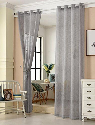 "WOLTU® Pair of Eyelet Ring Top Sheer Voile Curtains Linen Look Transparent Decorative Curtain Panels with Two Matching Tiebacks, 55"" Wide x 96"" Drop (140x245cm), Dark Grey, VH5861dgr-2"