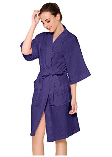 Women Cotton Bathrobe Waffle Weave Dressing Gown Sleepwear Kimono Lightweight Night Robe Spa Hotel Housing Robe Purple Grey White