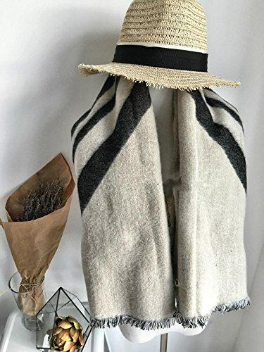 Women Fashion Classic Oversized thickened Blanket Scarf Wrap Shawl Cozy Faux Cashmere , beige
