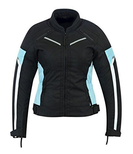 WOMENS MOTORCYCLE ARMOURED HIGH PROTECTION WATERPROOF JACKET BLACK/BLUE ARMOUR WCJ-1834T/BLUE (S)