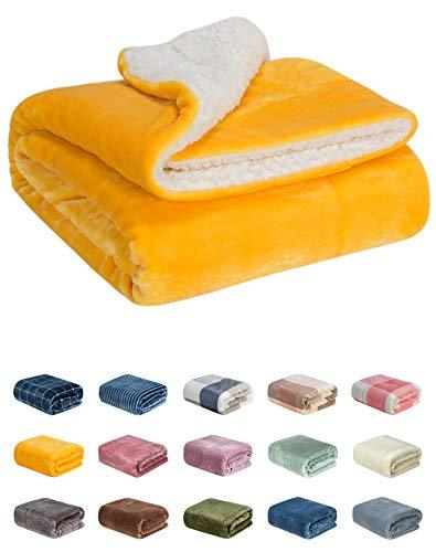 WONDER MIRACLE Fuzzy Sherpa Double Layers Super Thick and Warm Fleece Reversible Infant,Baby,Toddler,pet Blanket for Crib, Stroller, Travel, Couch and Bed (40Wx50L, Sunny Yellow)