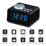 Wonyered Digital Alarm Clock Desk Bedside Dual Clock Radio Bluetooth 4.2 Aux in/TF Card/U-Disk Speaker Alarm Clock Mains Power Indoor Thermometer Charging Station with LED Display Dimmer Black