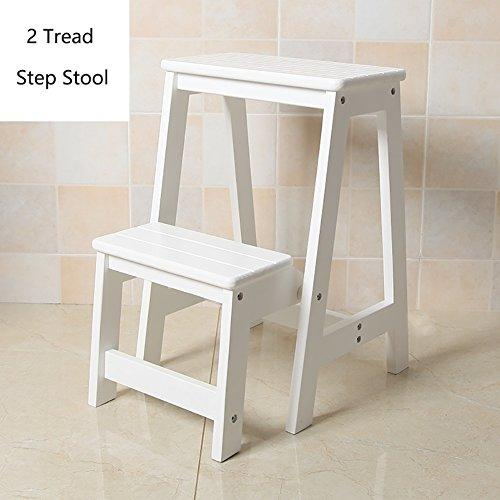 Wood 2 Step Stool For Adults & Kids Indoor Folding Stepladder Kitchen Wooden Ladders Small Foot Stools Portable Shoe Bench/Flower Rack (Color : White)