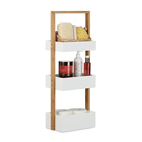 Wood 3 Tier Bathroom Free Standing Shower Caddy Tidy Organiser Shelves, H x W x D: 76 x 30 x 18.5cm, White, Natural