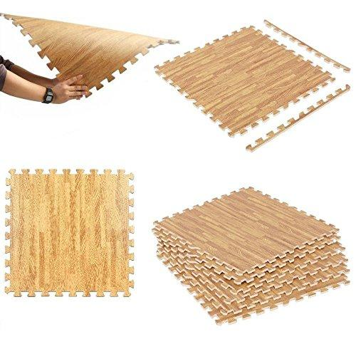 Wood Effect Interlocking Eva Soft Foam Mat Exercise Floor Mat Gym Garage Office Kids Play Mat Floor Carpet Protector Aerobic Yoga Mats (24 Mats -96 Sq Feet)