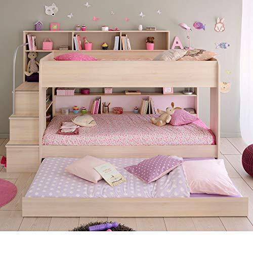 Wooden Bunk Bed with Underbed Storage Drawer, Happy Beds Bibop 2 Acacia Wood Modern Twin Sleeper - Euro Single (90 x 200cm) with 2 x Orthopaedic Mattresses Included