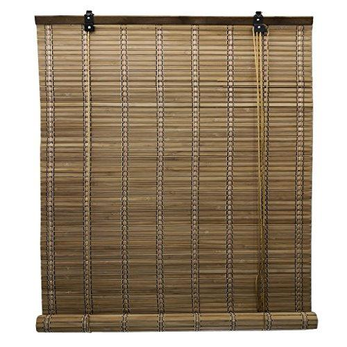 Wooden roller blinds/Vertical blackout blinds/Bamboo venetian blinds with Side Pull for Windows and Doors (135 x 225 cm, Brown)