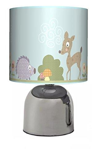 WOODLAND ANIMALS - BEDSIDE TOUCH LAMP - BOYS / GIRLS BEDROOM LIGHT / LAMP SHADE - NURSERY - BLUE - MAINS OPERATED (UK PLUG)
