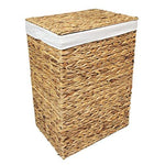 Woodluv Natural Rattan Laundry Storage Basket Linen Bathroom Basket, Large