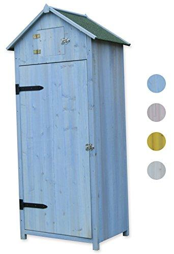 Woodside Blue Wooden Sentry Box Outdoor Garden Storage Cupboard Tool Shed