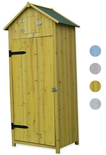 Woodside Yellow Wooden Sentry Box Outdoor Garden Storage Cupboard Tool Shed