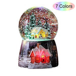 WOOYAN Snow Globes for Kids Boys Girls Christmas Snow Globe Snow House Crystal Ball Rotate 7 Colors Change Light Voice Control Music Box Castle in The Sky Birthday Xmas Gifts