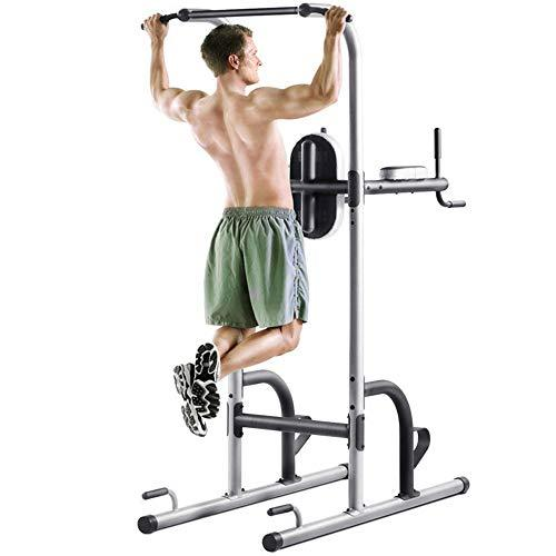 Workout Station Dip Stands Tower Workout Pull Up Dip Station Adjustable Height Pull Up Bar Station Tower W/Sit Up Bench For Indoor Home Gym Fitness Dip Stand Strength Training Equipment