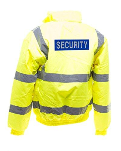Workwear World WW153 Printed Reflective Security Badge Doorman Bouncer SIA Site Hi Viz Visibility Bomber Jacket Coat (M, Yellow)