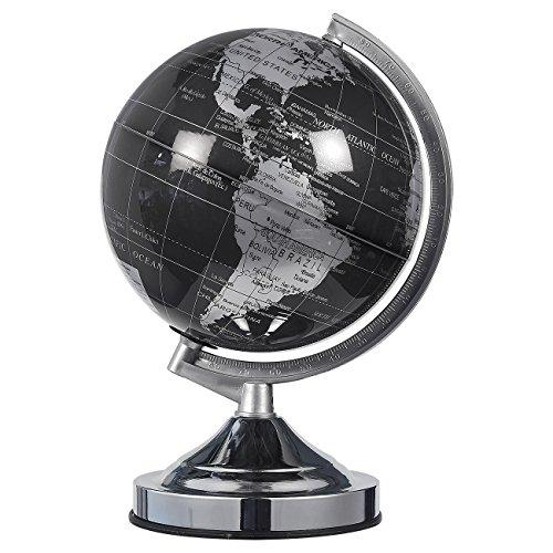 World Globe - 8-Inch Black and Silver Political Globe - Spinning and Rotating Desktop Globe with Stand - Great Educational Gift for Kids, Adults, Teachers