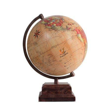"World Globe with Strong, Heavy Duty Stand - Large 12"" Antique Desktop Earth - Decorative And Educational for Kids - by True North"