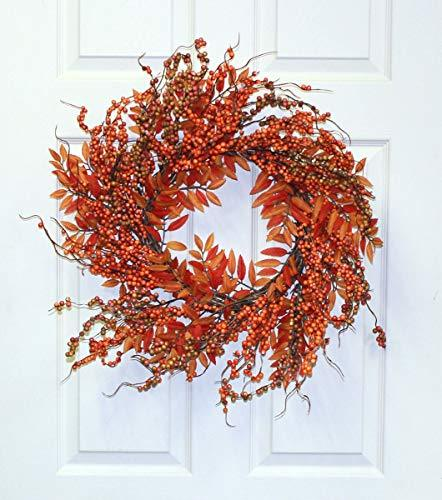 Worth Imports Fall Berry Fern Wreath, 18""