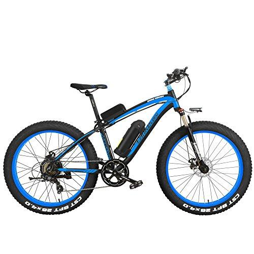 XF4000 26 inch Electric Mountain Bike Mens Cruiser Cycling Roadbike 4.0 Fat Tire Snow Bkie 500W Strong Power 48V Lithium-Ion Battery 7 Speed Suspension Fork (Black Blue, 500W + 1 Spared Battery)