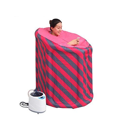 XIAOLY Steam Engine Sauna Box Electronic Control Steam Generator Air Column Bathtub - Collapsible Inflatable Portable Sauna,Redandbluestrips-remotecontrol2liters