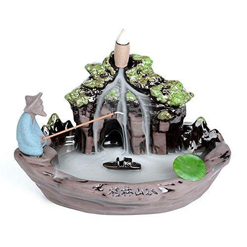 XIDUOBAO Ceramic Handicraft Smoke Backflow Landscape Incense Burner & Incense Holder Candle Holder Censer,Home Décor