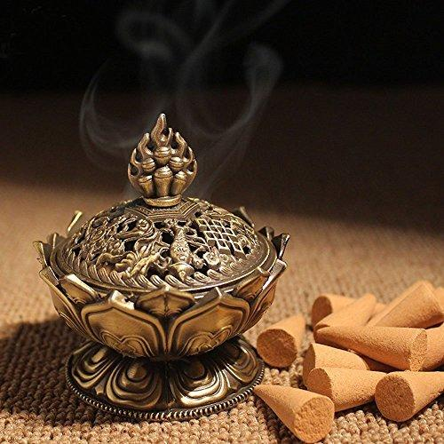 XIDUOBAO Lotus Flower Incense Burner Alloy Metal Buddha Incense Burner Holder Candle Holder Censer- Buddhist Decor,Home Decoration. (Large)