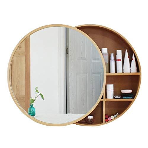 Xing Hua Shop Wall-Mounted Mirror Bathroom Mirror Cabinet Bathroom Mirror with Shelf Locker Wall-Mounted Makeup Vanity Round Mirror (Color : Wood Color, Size : 70cm)