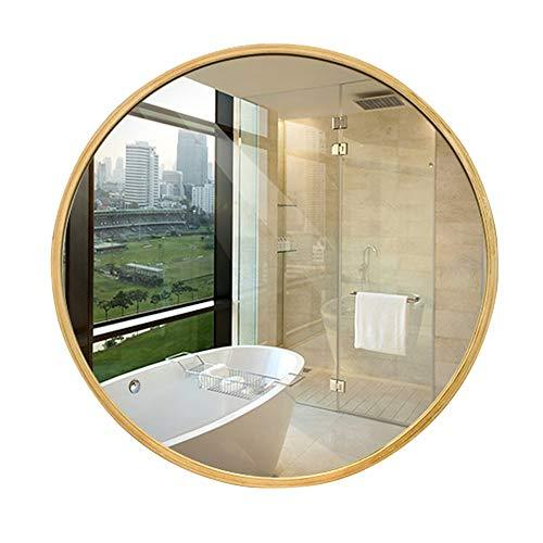 XINGZHE Bathroom Mirror- wall-mounted vanity mirror-round wooden HD mirror-vanity mirror Decorative Wall Mirror for bedroom/Bathroom/hotel Makeup mirror (Size : 70CM)
