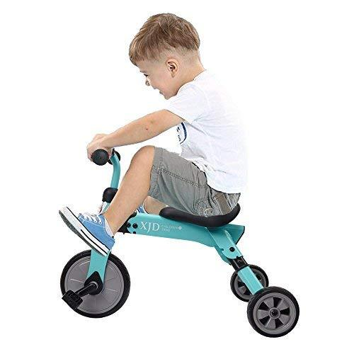 XJD Kids Tricycle with Carry Bag, Foldable Toddler Trike Indoor Outdoor Baby Balance Bike for 2 Years Old Boys or Girls (Blue)