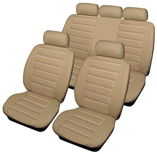Xtremeauto Sports Style Cream Beige Leather Look Car Seat Covers XA01
