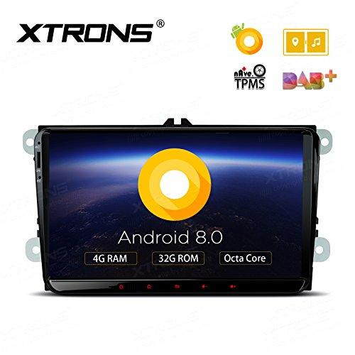 XTRONS 9 Inch Android 8.0 Octa Core 4G RAM 32G ROM Car Stereo Radio HD Digital Multi-touch Screen OBD2 DVR In Dash Video Player Tire Pressure Monitoring Wifi OBD2 NO-DVD for VW EOS PASSAT GOLF