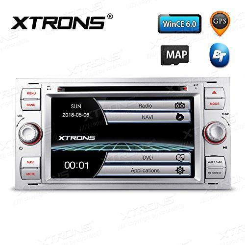 """XTRONS Silver 7"""" HD Touch Screen Car Stereo DVD Player with GPS Navigator  Bluetooth RDS Radio Screen Mirroring Function for Ford Focus S-max Mondeo"""