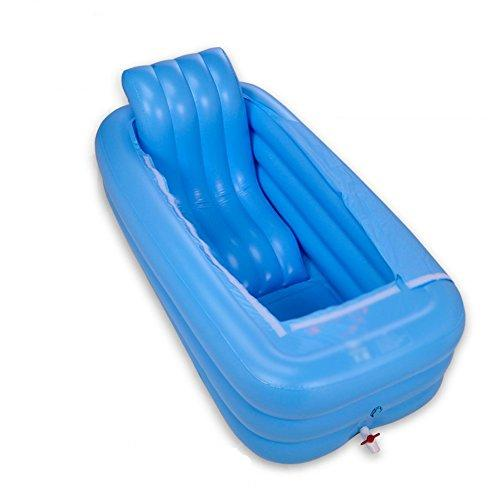 XXCCL Inflatable Bathtub Collapsible Bath Barrel Thicken Adult Insulation, Wear-Resistant Reinforcement Ergonomics PVC Material,Blue
