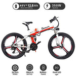 XXCY M80 26' e-bike MTB 48V 350W Men Folding Ebike 21 Speeds Mountain&Road Bicycle with 26inch Tire, Disc Brake and Full Suspension Fork (orange)