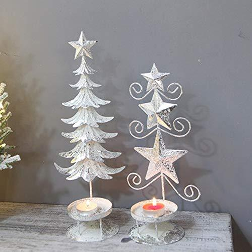 XYQS Christmas Creative Desktop Mini Christmas Tree Light Candlestick Decoration Restaurant Window Christmas Decorations