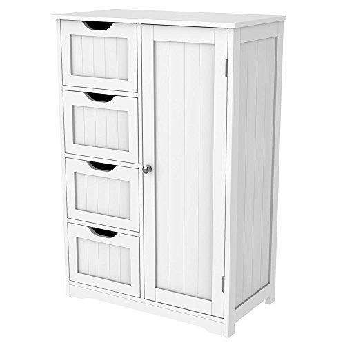 Yaheetech Large Wooden Bathroom Cabinet, 56.1 x 30.1 x 82 cm/22 x 11.9 x 32.3'' (LxWxH) Floor Standing Storage Unit with 4 Drawers & Shelf Cupboard Bedroom or Bathroom Furniture