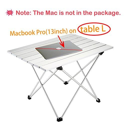Beach Travel Fishing BBQ YAHILL Aluminum Folding Collapsible Camping Table Roll up 3 Size with Carrying Bag for Indoor and Outdoor Picnic Hiking
