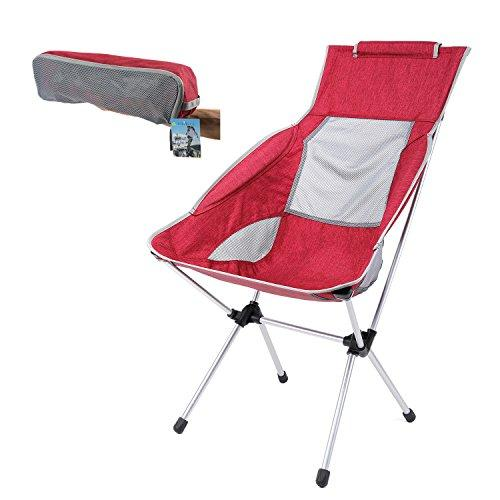 YAHILL®Extended Portable Ultralight Collapsible Moon Leisure Camping Chair with Carrying Bag for Outdoor works, Camping, Hiking, Travel, Hunting, Fishing (Invisible Armrest/Red Chair)